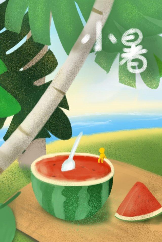 小さな熱スイカココナッツツリーヤシ イラスト素材