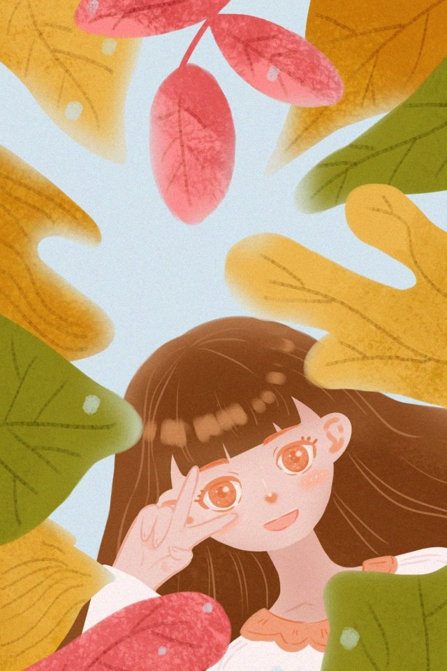笑顔の女の子の植物の感情的な表現 イラスト素材