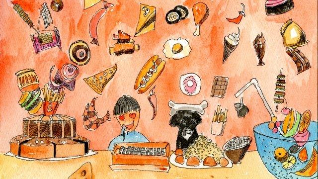 스낵 식품 건강 삽화 소재 삽화 이미지