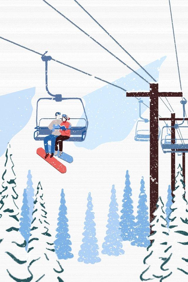 雪山ケーブル風景のカップルを見てください。 イラスト素材 イラスト画像