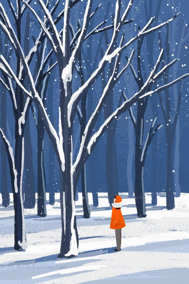 snow scene winter winter girl, Snow Background, Forest, Jungle illustration image