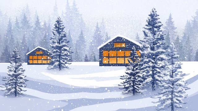 snow scene winter winter solar terms llustration image