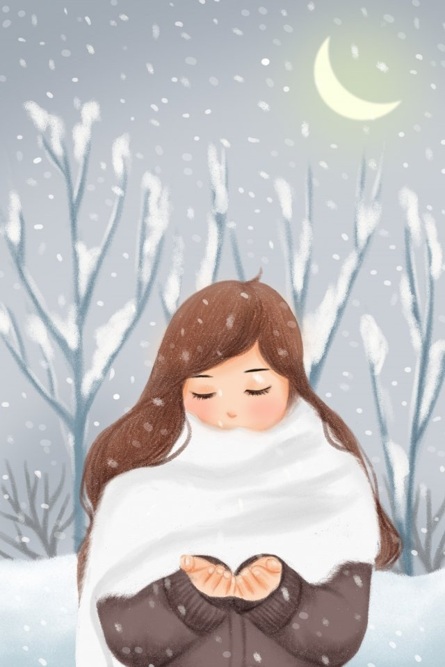 snowflake snow pile girl winter llustration image illustration image