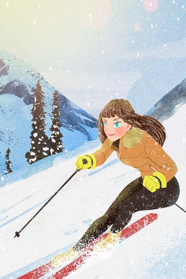 snowing snow scene make a snowman boy girl llustration image