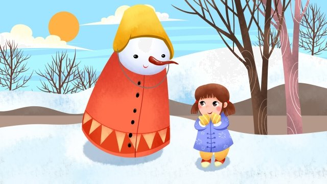 下雪天雪景觀雪景 插畫素材