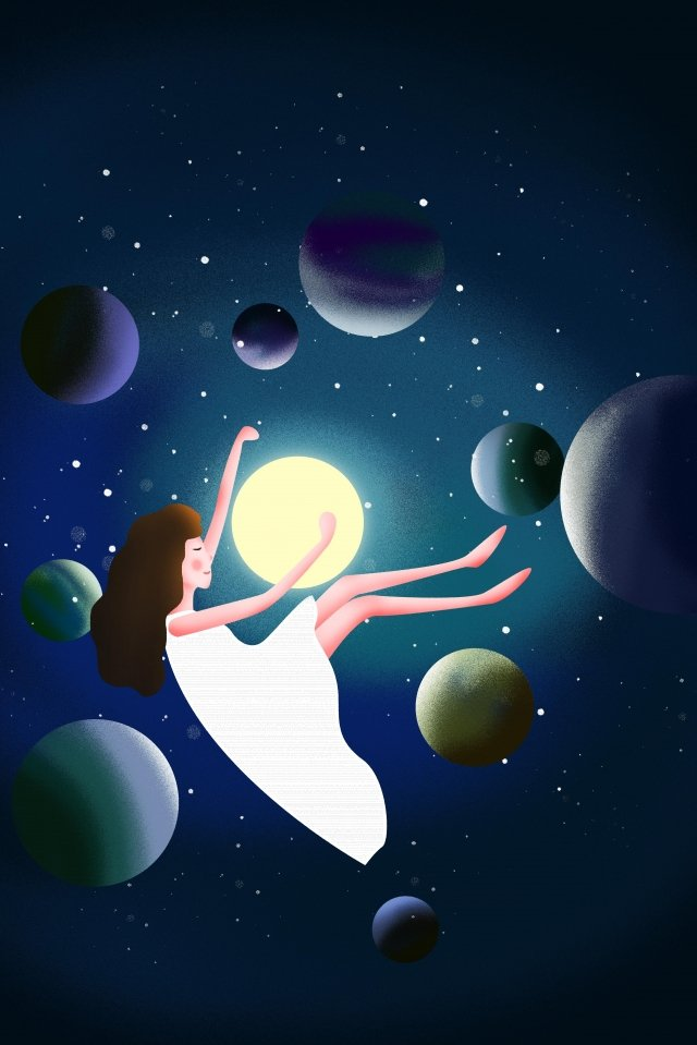 soar girl universe planet llustration image