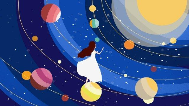 парить девушка вселенная планета Ресурсы иллюстрации