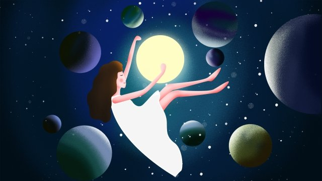 soar girl universe planet llustration image illustration image