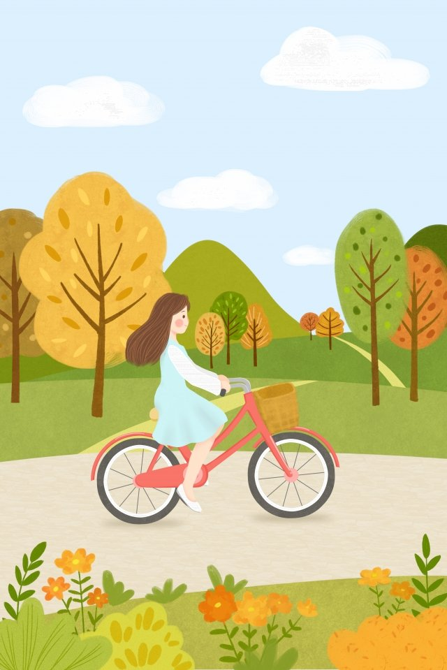 solar terms autumnal fall autumn, Cycling, Low Carbon Life, Outing illustration image