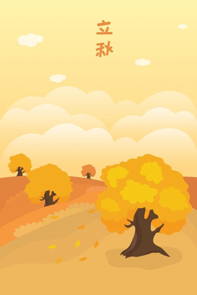 solar terms beginning of autumn autumnal fall, Big Tree, Hillside, White Clouds illustration image