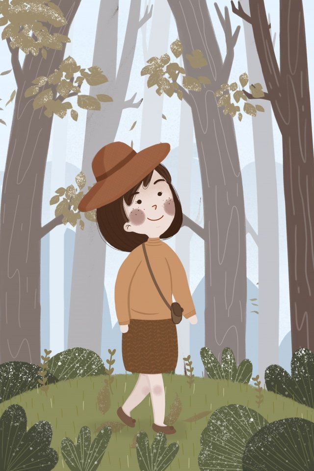 solar terms frost drop autumn and winter hat, Girl, Walking, Forest illustration image