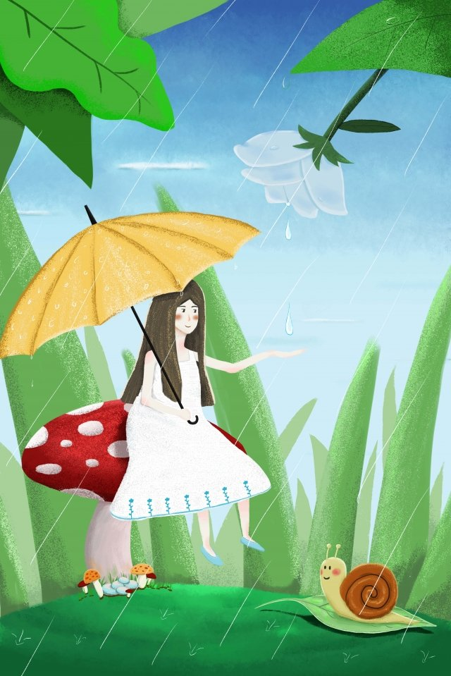 solar terms rainwater forest girl, Snails, Water Receiving, Rain illustration image