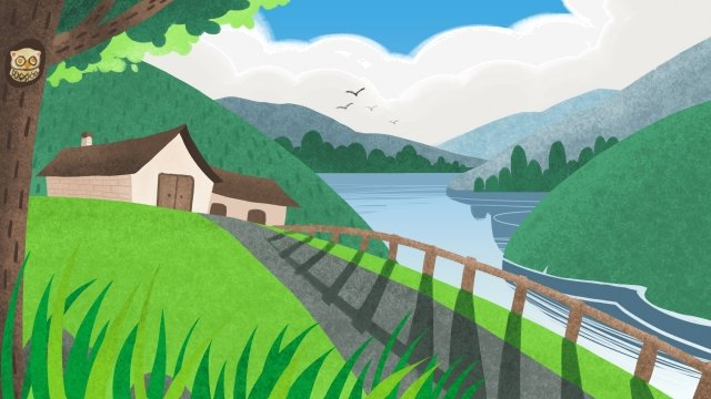 solar terms spring green landscape llustration image
