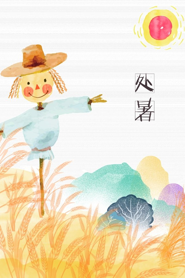 solar terms summer scarecrow hand painted llustration image illustration image