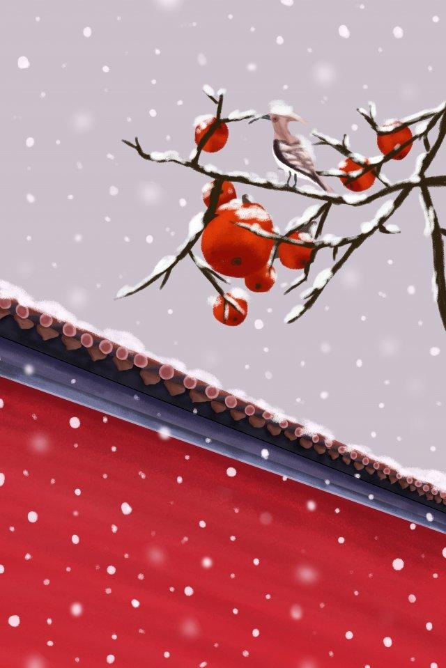 solar terms twenty-four solar terms winter beginning of winter, Light Snow, Heavy Snow, Red illustration image