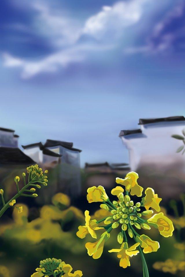 वसंत के दक्षिण में huizhou बलात्कार के फूल दक्षिणी देश चित्रण छवि चित्रण छवि