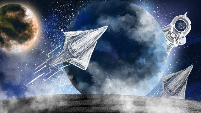 space planet spaceship starry sky llustration image illustration image