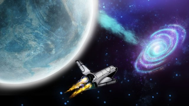 space shuttle moon aerospace starry sky llustration image