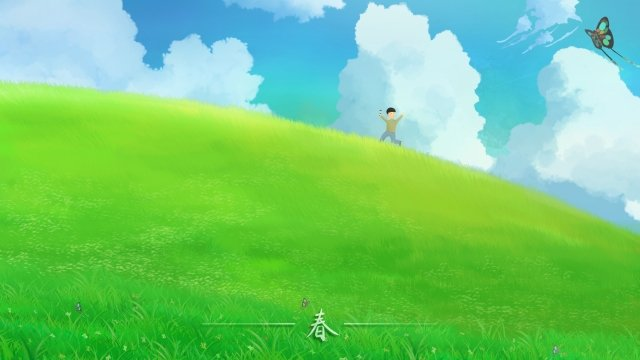 春の初め春の草原 イラストレーション画像 イラスト画像