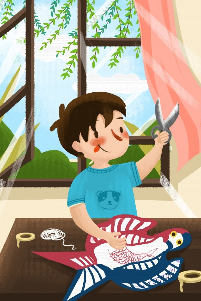 spring boy making a kite fly a kite, Illustration, Kite, Spring illustration image