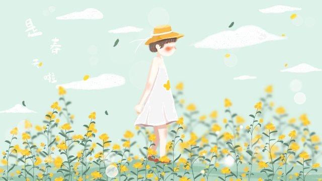 春を治す小さな女の子素敵な イラストレーション画像