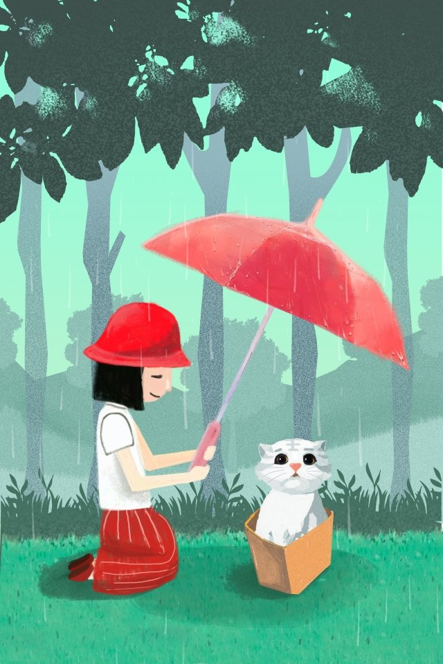 spring equinox green space spring rain tree, Girl, Cat, Hand Painted illustration image