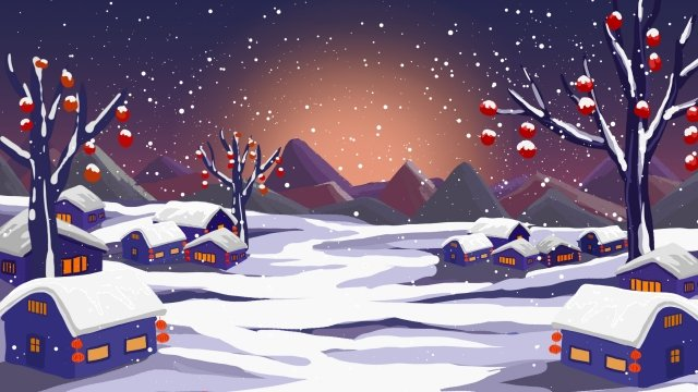 spring festival background landscape new year, Lantern, Snow Scene, Hand Painted illustration image