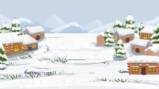 spring festival background landscape snow scene, Snow Landscape, Snow Village, Small Village illustration image