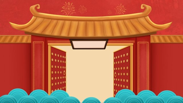 spring festival chinese style banner hand painted, Roof, Red, Open illustration image