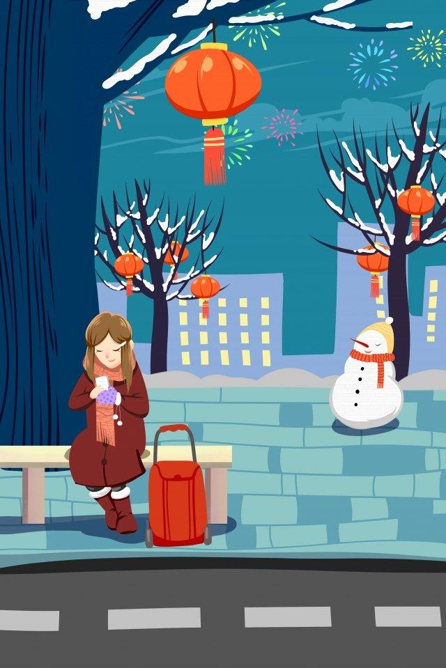 봄 축제 제철의 겨울 집으로 돌아온다 일러스트레이션 이미지