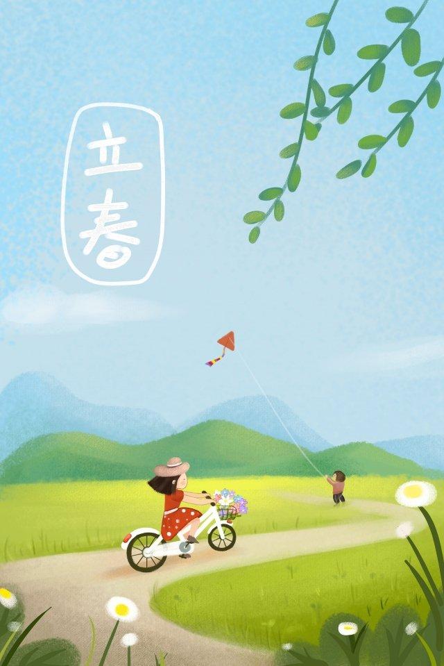 वसंत त्योहार ताजा शैली का बहिर्वाह चरागाह चित्रण छवि