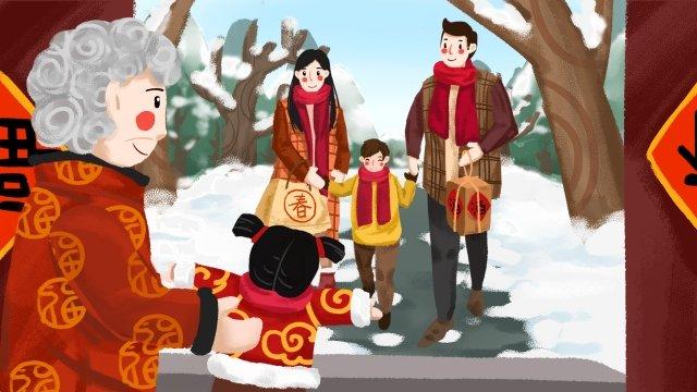 봄 축제 새해 신년 축제 돌아 오는 집 그림 이미지