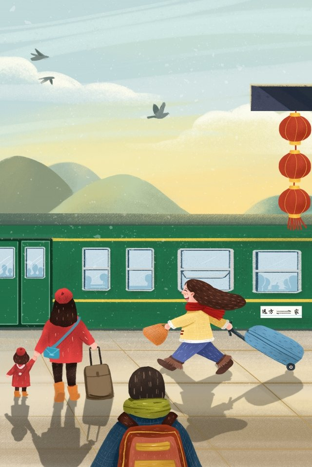 봄 축제 기차 집으로 돌아와 새해 그림 이미지 일러스트레이션 이미지