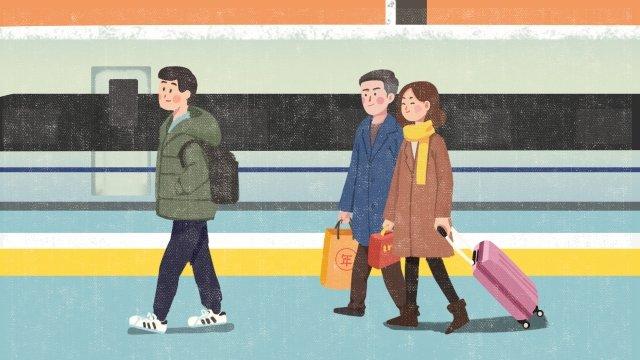 spring festival train station come back home new year llustration image
