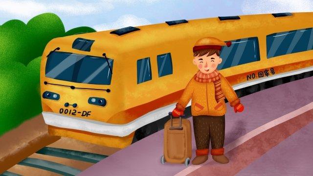 spring festival train youth baggage llustration image