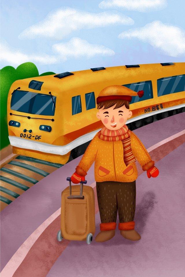 spring festival train youth baggage illustration image