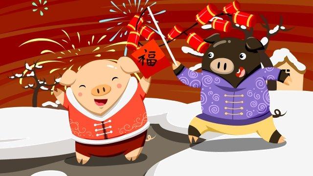 돼지 폭죽 봄의 봄 축제 년도 삽화 소재 삽화 이미지
