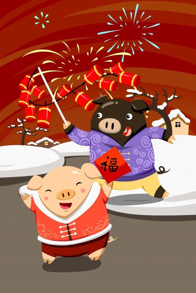 돼지 폭죽 봄의 봄 축제 년도 삽화 소재