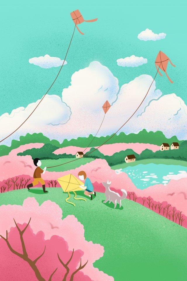 春天放風箏櫻花字符 插畫素材