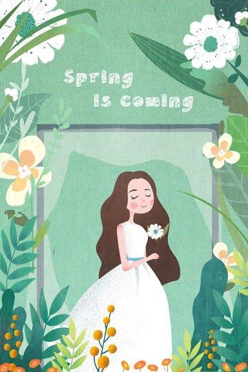 春の草の女の子の花 イラストレーション画像 イラスト画像