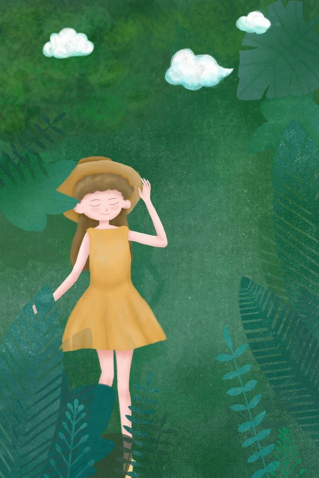 spring green tree green plant girl, Straw Hat, White Clouds, Green illustration image