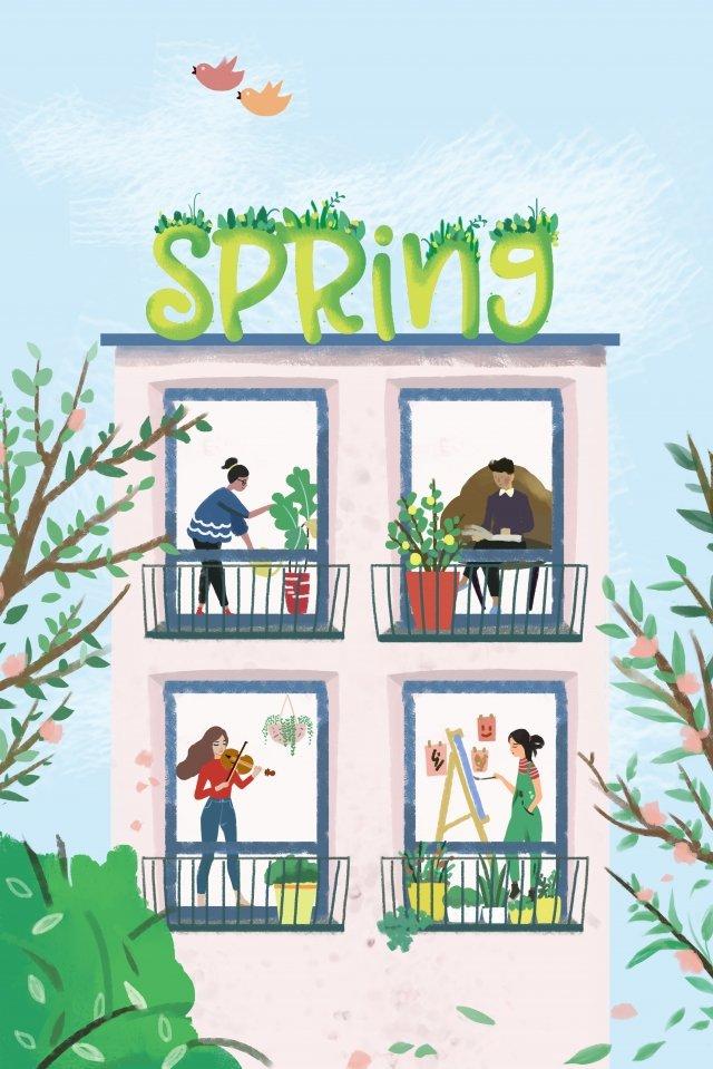 primavera verde vida vibrante Imagen de ilustración
