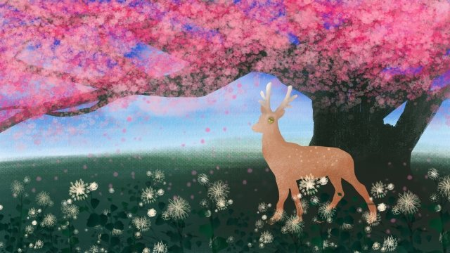 spring hand painted fawn cherry tree, Flowers, Illustration, Big Tree illustration image