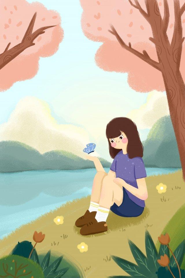 春のホラー少女蝶 イラスト素材 イラスト画像
