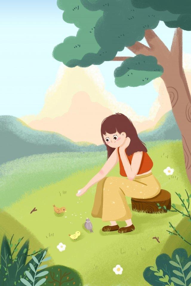 春のホラー少女小鳥 イラスト素材