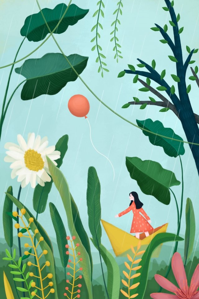 春イラスト手描きの雨 イラスト画像