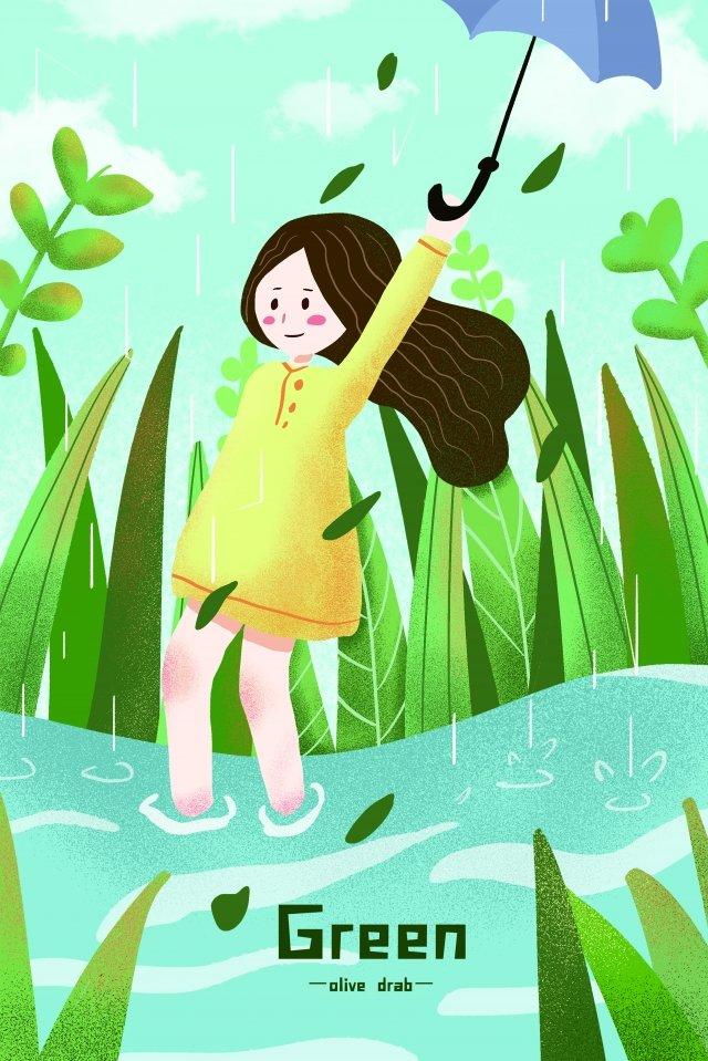 春天例證春天風景綠色小清楚的例證 插畫素材