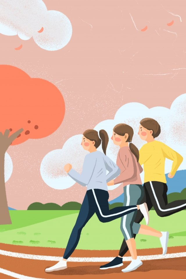 spring motion landscape spring, Park, Run, Illustration illustration image