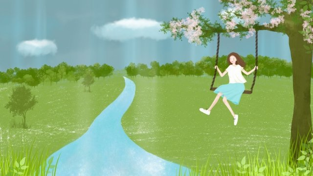 春屋外グリーンツリー草原 イラストレーション画像