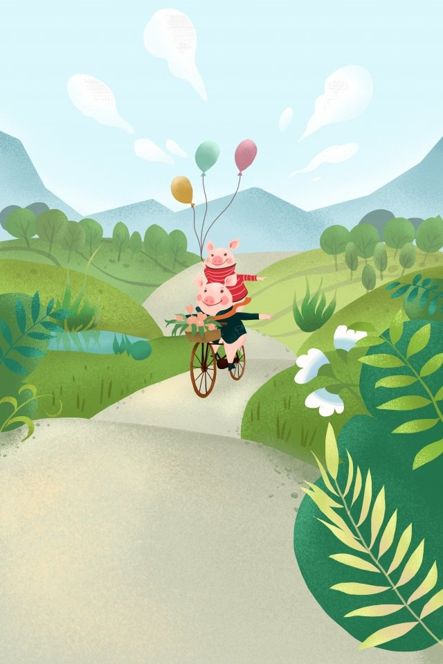 春のおでかけステップ手描きスタイル イラストレーション画像